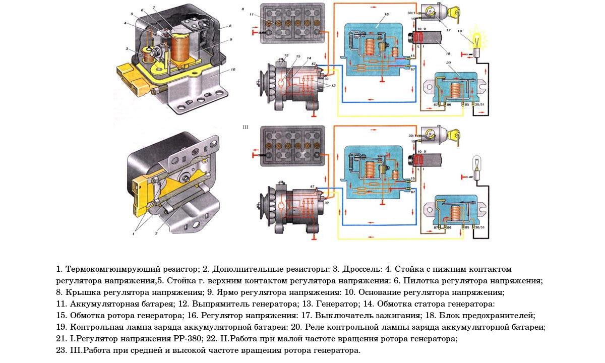 Работа регулятора генератора двигателя ВАЗ