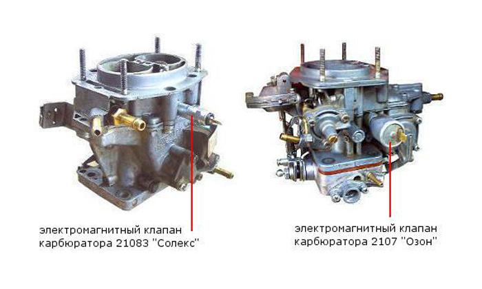 Jelektromagnitnye klapany karbjuratora VAZ 2107 - Устройство карбюратора ваз 2107 дааз 2107 1107010