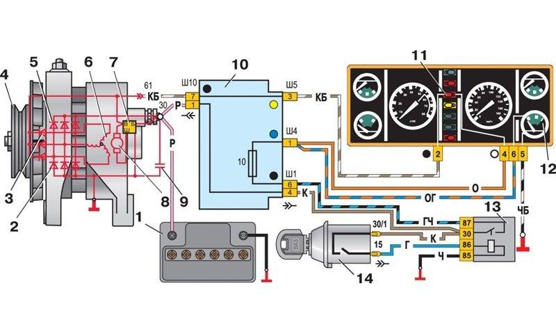 Схема подключения генератора 37.3701 со встроенным реле-регулятором