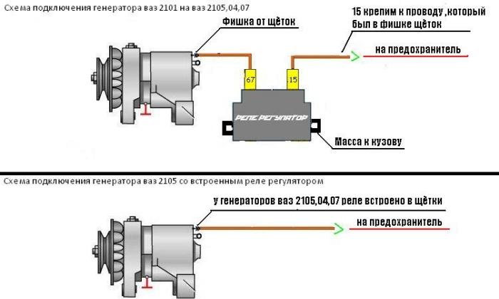 Подключение генератора с регулятором напряжения для ВАЗ