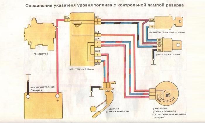 shema soeddinenia ukazatela urovna topliva s lampoi - Схема датчика уровня топлива ваз 2109 карбюратор